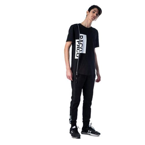 ΑΝΔΡΙΚΟ T-SHIRT Paco&Co CROP ΧΡΩΜΑ ΜΑΥΡΟ 201541-Black