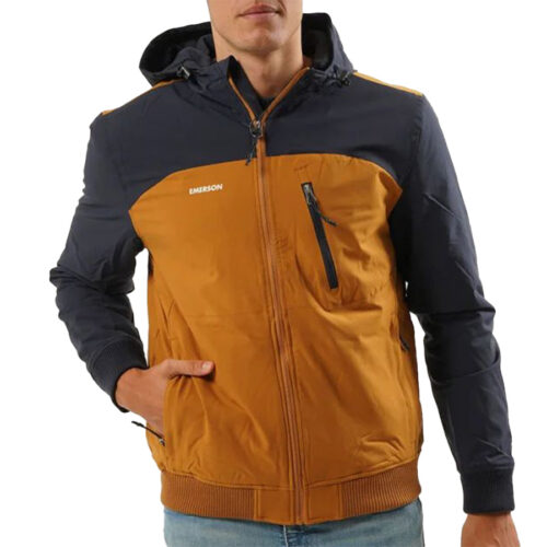 Emerson Men's Ribbed Jacket with Hood K9 OCHRE/NAVY BLUE