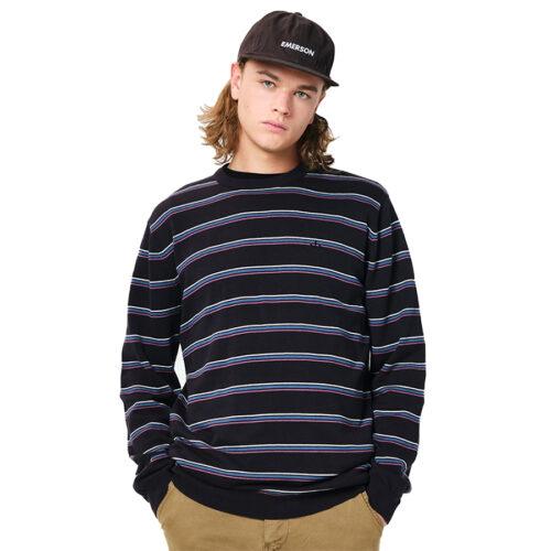 Ανδρική Πλεκτή Μπλούζα Emerson Χρώμα Μαύρο Men's Cotton Knit with Round Neck PR 209 BLACK