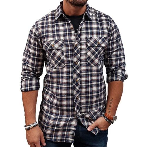 Basehit Ανδρικό πουκάμισο 202.BM60.82 Navy-Beige