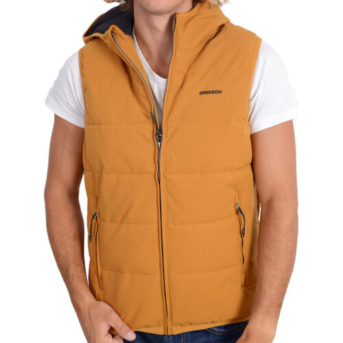 Emerson Men's P.P. Down Vest Jacket with Hood K9 OCHRE