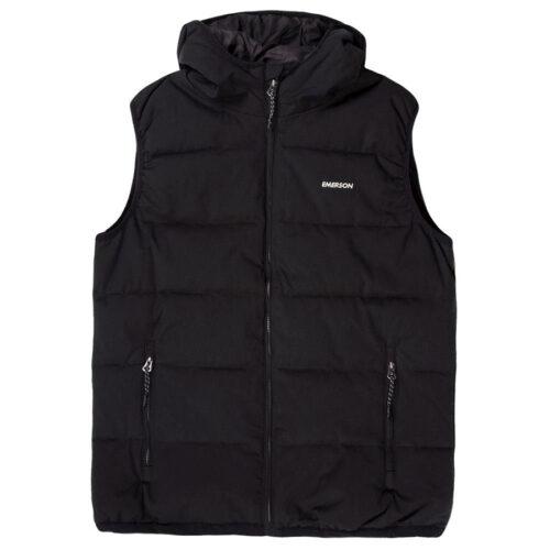 Emerson Men's P.P. Down Vest Jacket with Hood K9 BLACK
