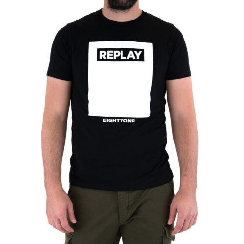 Ανδρικό T-Shirt Replay Μακώ Xρώμα Μαύρο
