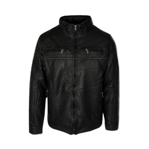 Ανδρικό Jacket Δερμάτινο με Επένδυση Paco & Co Χρώμα Μαύρο 204505-Black