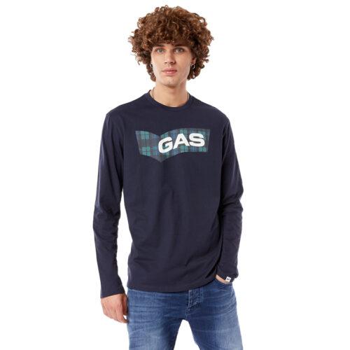 Ανδρική Μπλούζα GAS Μακώ Μακρύ Μανίκι Χρώμα Μπλε dharis /r ml-blue