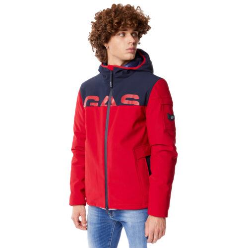 Ανδρικό Κοντό Μπουφάν GAS Με Κουκούλα Χρώμα Κόκκινο