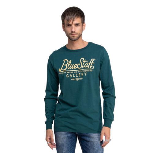 Ανδρική Μπλούζα Μακώ Μακρύ Μανίκι STAFF Χρώμα Πράσινο Felix Man T-shirt Ls 64-016.044-Dark-Green