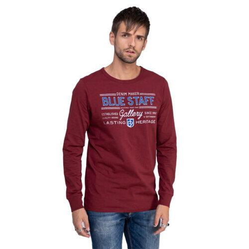 Ανδρική Μπλούζα Μακώ Μακρύ Μανίκι STAFF Χρώμα Μπορντό Sonny Man T-Shirt Ls 64-015.044-Βordeaux