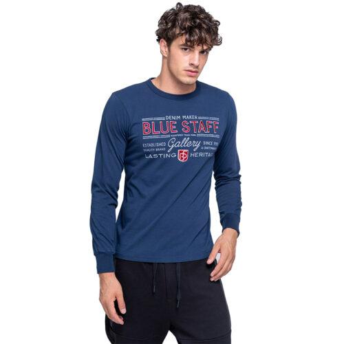 Ανδρική Μπλούζα Μακώ Μακρύ Μανίκι STAFF Χρώμα Μπλε Sonny Man T-Shirt Ls 64-015.044-Navy Blue