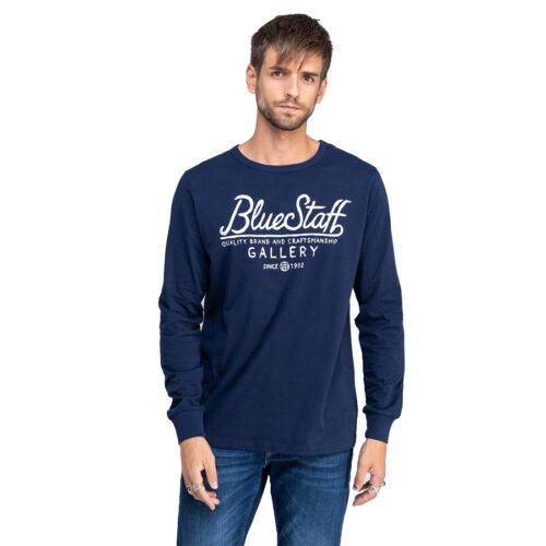Ανδρική Μπλούζα Μακώ Μακρύ Μανίκι STAFF Χρώμα Μπλε Felix Man T-shirt Ls 64-016.044-Blue Navy