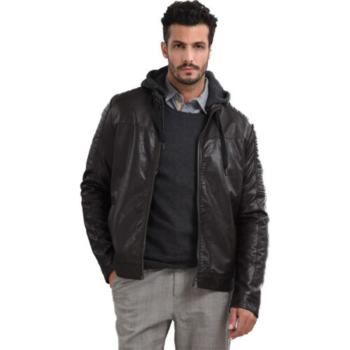 Biston Ανδρικό Μπουφάν Δερματίνης Χρώμα Καφέ Jacket Biston 42-201-014 Brown