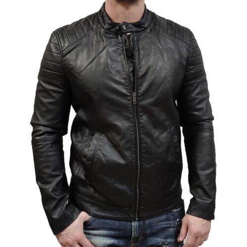 Biston Ανδρικό Μπουφάν Δερματίνης Χρώμα Μαύρο Jacket Biston 43-201-018-Black