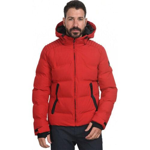 Biston Ανδρικό Μπουφάν Κοντό Με Κουκούλα Χρώμα Κόκκινο Jacket 44-201-039-red