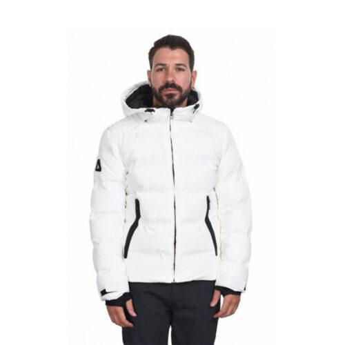 Biston Ανδρικό Μπουφάν Κοντό Με Κουκούλα Χρώμα Λευκό Jacket 44-201-039-white