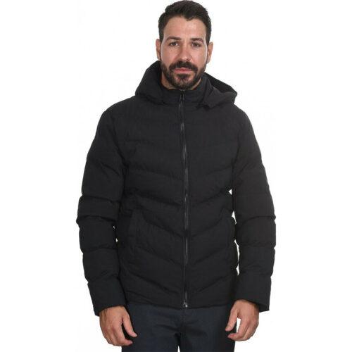 Biston Ανδρικό Μπουφάν Κοντό Με Κουκούλα Χρώμα Μαύρο Jacket 44-201-049-blacκ