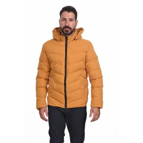 Biston Ανδρικό Μπουφάν Κοντό Με Κουκούλα Χρώμα Κίτρινο Jacket 44-201-049-yellow