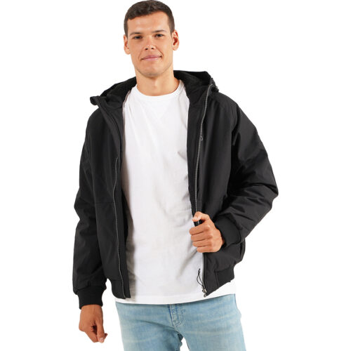 EMERSON HOODED RAGLAN BOMBER JACKET 202.EM10.116 -BLACK