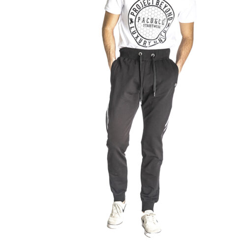 Aνδρικό Παντελόνι Φόρμας PACO & CO Χρώμα Μαύρο Men's Jogger Pant 213678-black