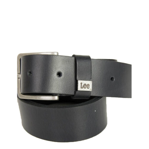 Ανδρική μαύρη δερμάτινη ζώνη μονόχρωμη Lee LA035301-black