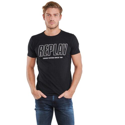 Ανδρικό T-shirt Replay Μακό Xρώμα Μαύρο M3395 .000.2660-098 black
