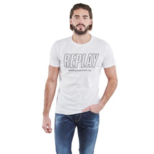 Ανδρικό T-shirt Replay Μακό Xρώμα Λευκό M3395 .000.2660-001 white