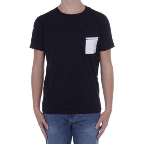 Ανδρικό T-shirt Replay Μακό Xρώμα Μαύρο M3396.000.2660-098 black