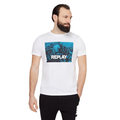 Ανδρικό T-shirt Replay Μακό Xρώμα Λευκό M3412 .000.2660-001 white