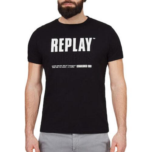 Ανδρικό T-shirt Replay Μακό Xρώμα Μαύρο M3413 .000.22880-098 black
