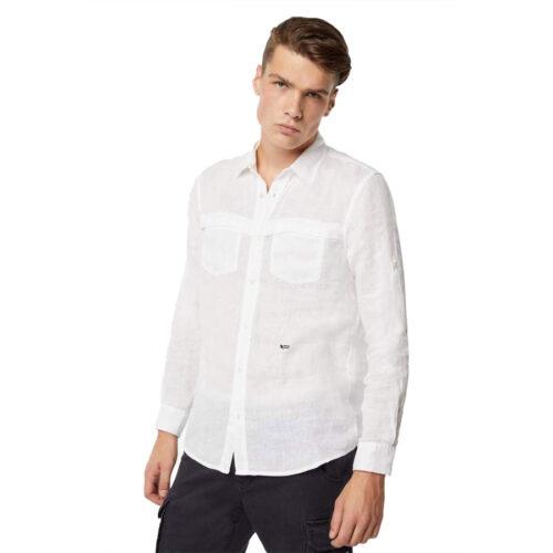 GAS Ανδρικό Πουκάμισο Χρώμα Λευκό DAB/R PK Men's Linen Shirt A1356 15 1354 10 0048 0001-white