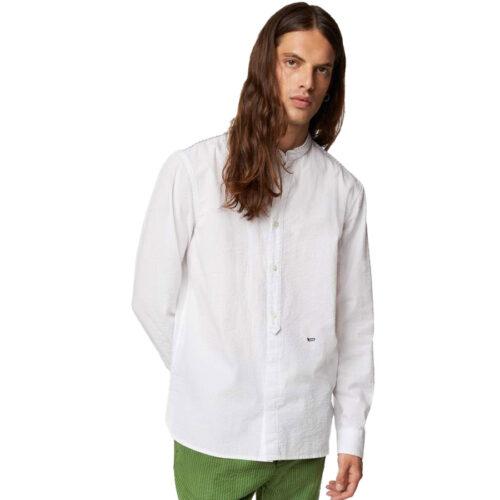 GAS Ανδρικό Πουκάμισο Χρώμα Λευκό MISAO/R Men's long sleeve seersucker cotton shirt A1487 15 1351 06 4304 0001-white