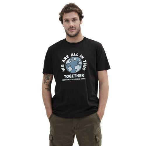 Ανδρικό T-Shirt Emerson Χρώμα Μαύρο WE ARE ALL IN THIS TOGETHER T-SHIRT 211.EM33.22-black