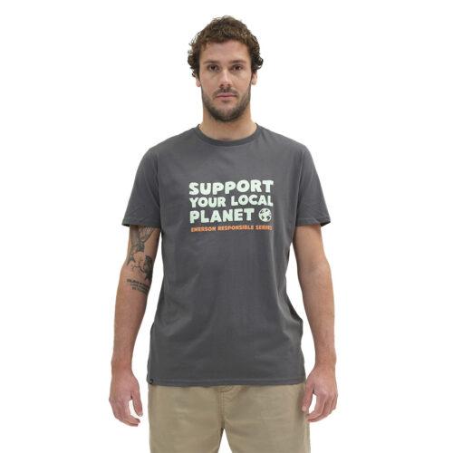 Ανδρικό T-Shirt Emerson Χρώμα Πράσινο Emerson SUPPORT YOUR LOCAL PLANET T-SHIRT 211.EM33.20-forest