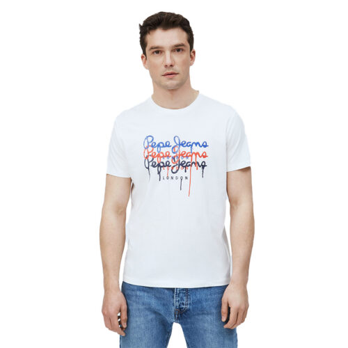 ΑΝΔΡΙΚΟ T-SHIRT E2 MOE 2 PAINTING EFFECT LOGO PEPE JEANS PM507778-803 OFF WHITE