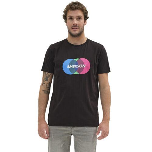 Ανδρικό T-Shirt Emerson Χρώμα Μαύρο COLORFUL CIRCLES LOGO T-SHIRT 211.EM33.64-black