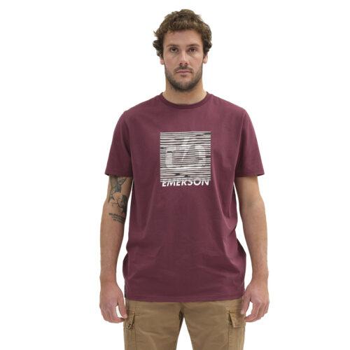 Ανδρικό T-Shirt Emerson Χρώμα Μπορντό EMERSON DIGITAL LOGO T-SHIRT 211.EM33.66-dusty wine
