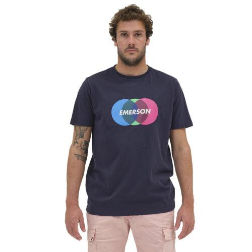 Ανδρικό T-Shirt Emerson Χρώμα Μπλε COLORFUL CIRCLES LOGO T-SHIRT 211.EM33.64-navy blue