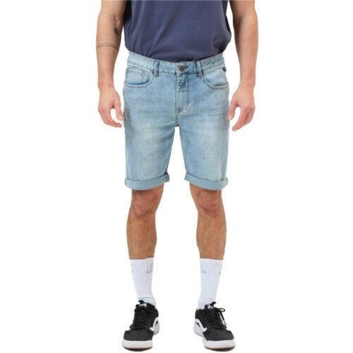Ανδρική Τζιν Βερμούδα BASEHIT Χρώμα Μπλε Men's Stretch Denim Short Pants 211.BM45.98 light Blue