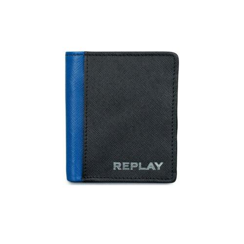 Replay Ανδρικό Πορτοφόλι Xρώμα Μαύρο REPLAY M SAFFIANO LEATHER WALLET - FM5212.000.A3053-098 black