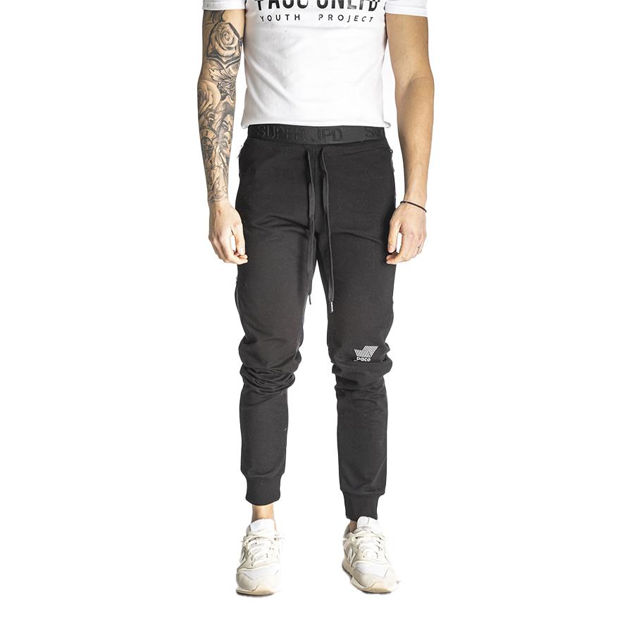 Aνδρικό Παντελόνι Φόρμας Με Φερμουάρ στο Πλάι PACO & CO Χρώμα Μαύρο Men's Jogger Pant Side Zipper 218652-black