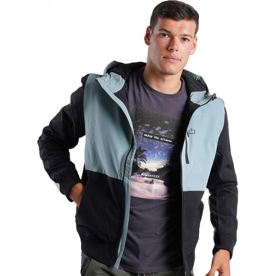 Emerson Ανδρικό Μπουφάν Με Κουκούλα Men's Ribbed Jacket with Hood 20-212.EM10.28-K9 BLACK/PINE FOG